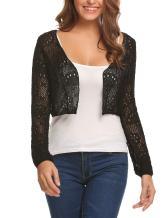 Zeagoo Womens Lace Crochet Bolero Shrug Tops Long Sleeve Knit Open Cropped Cardigan Sweater