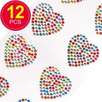 Baker Ross Rainbow Crystal Stick On Heart Stickers, for Card Craft, Scrapbook Stickers and Arts and Crafts for Kids (Pack of 12)