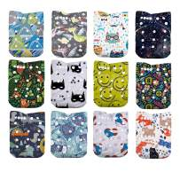 LilBit Baby Cloth Diapers,One Size Adjustable Reusable Pocket Cloth Diaper 12pcs Diapers + 12pcs Charcoal Bamboo Inserts+1 Wet Bag, (color3)
