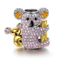 NINAQUEEN Koala Baby 925 Sterling Silver Animal Charms for Bracelets Gold Plated Bead Charms Ideal Happy Family Series Gifts for Mom Daughter Girls Women