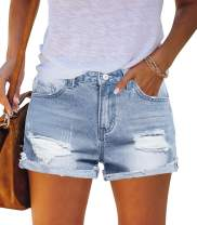 MEROKEETY Womens Mid Rise Ripped Denim Shorts Frayed Raw Hem Summer Jeans with Pockets