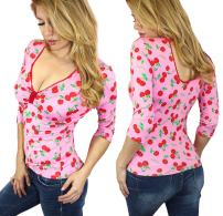 Sweetheart Sexy Retro Pinup Top| Cherry, Polka Dot, Leopard| 3/4 SLV Pinup Blouse