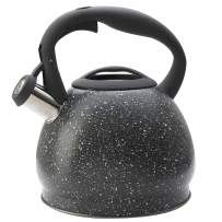 ELEVATE LIFE PRODUCTS 3.0 Liter Tea Kettle, Natural Stone Marble Finish Stovetop Kettle with Anti-Hot Handle, Anti-Rust 18/8 Stainless Steel Food Grade Whistling Stove Top Tea Pot (Grey)