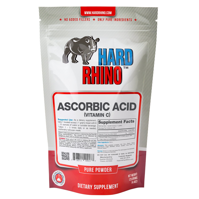 Hard Rhino Ascorbic Acid (Vitamin C) Powder, 125 Grams (4.4 Oz), Unflavored, Lab-Tested, Scoop Included