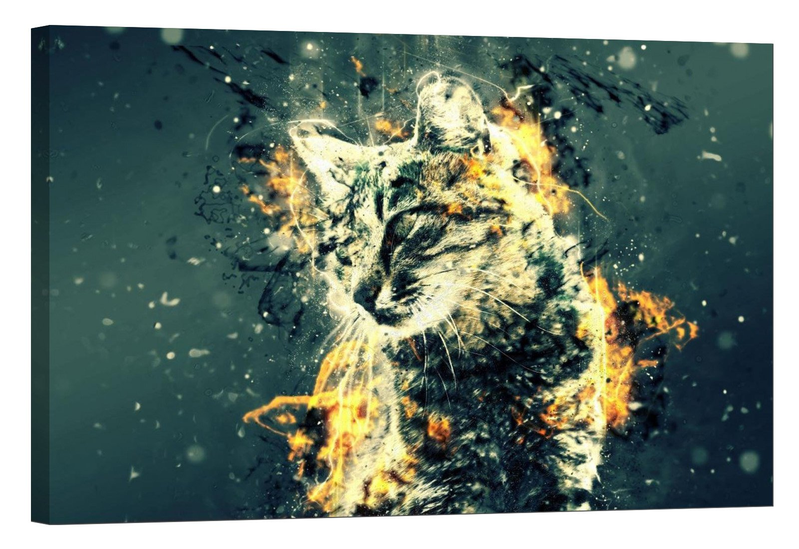 LightFairy Glow in The Dark Canvas Painting - Stretched and Framed Giclee Wall Art Print - Cat On Fire - Master Bedroom Living Room Decor - 6 Hours Glow - 36 x 24 inch