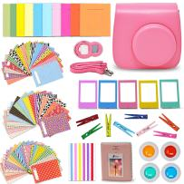 Xtech Fuji Instax Mini 9/8 Accessories Kit Includes + Flamingo Pink Camera Case, Mini Photo Album, 120 Colorful Sticker Frames/Hanging Frames+ Assorted Mini 9 Accessories