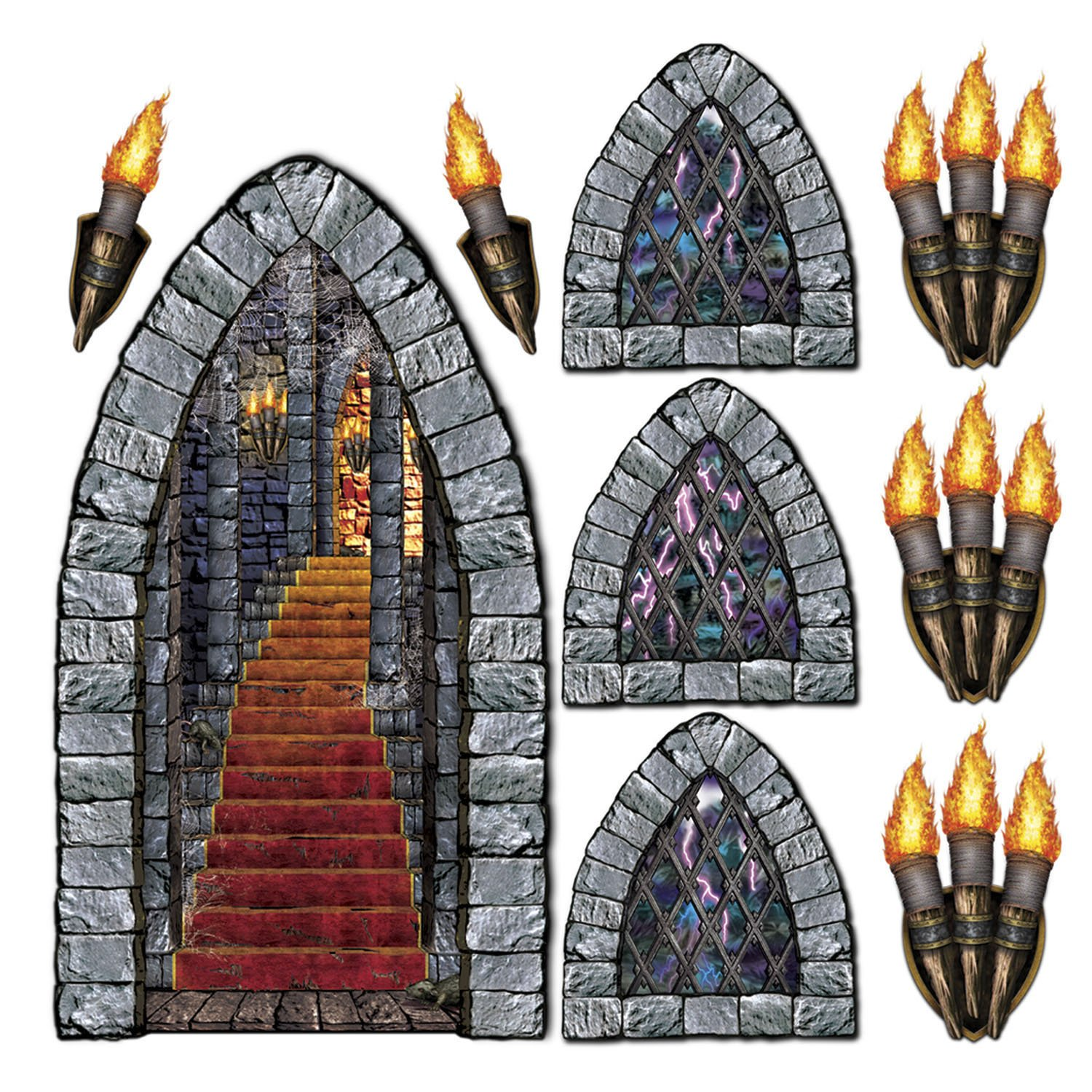 Stairway, Window & Torch Props Party Accessory (1 count) (9/Pkg)