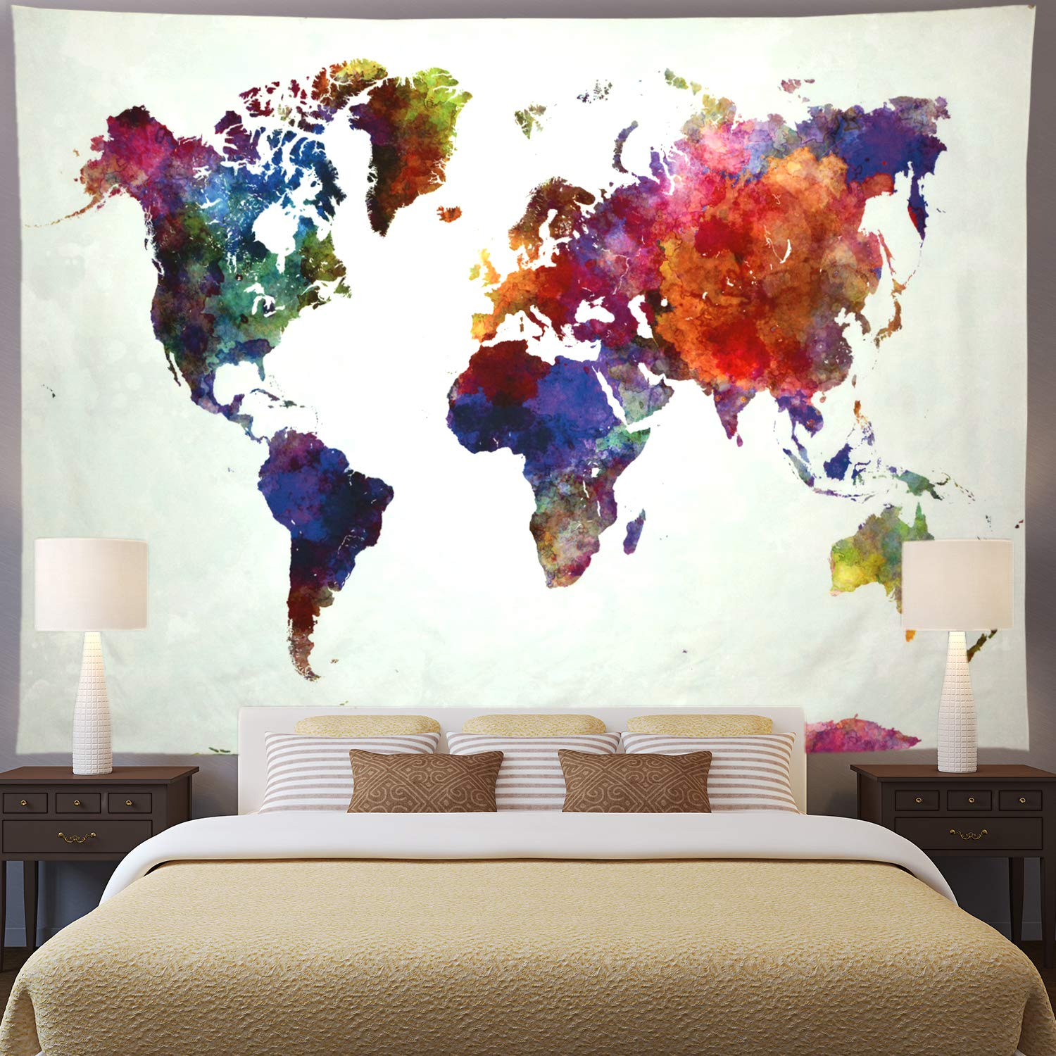 """Ameyahud World Map Tapestry Watercolor World Tapestry Abstract Map Tapestry World Tapestry Wall Hanging for Bedroom (XL/70.8""""×92.5"""", Colorful Map)"""