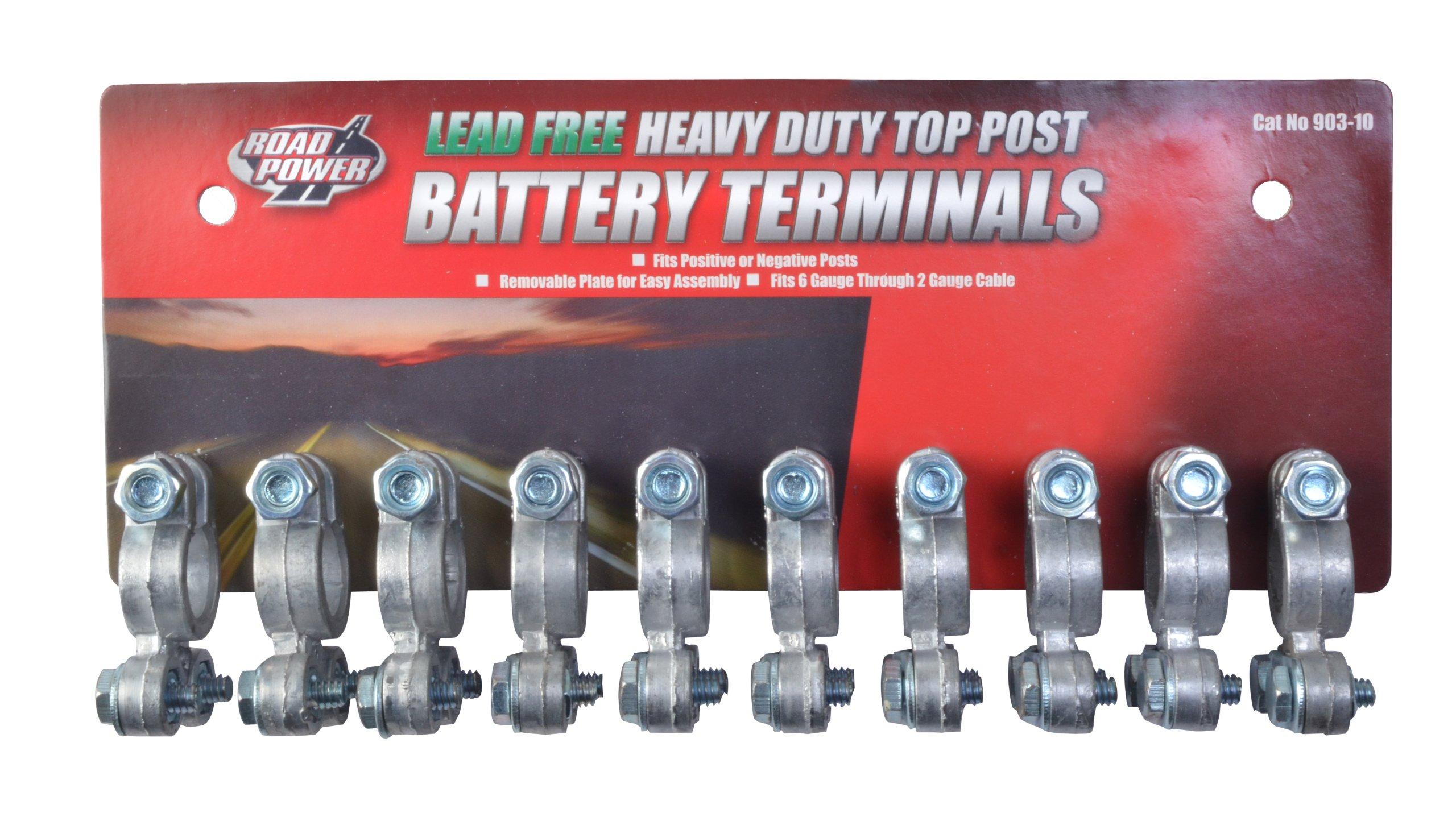 Road Power 903-10 Top Post Battery Terminal, 10-Pack, Chrome, 6 and 12-Volt