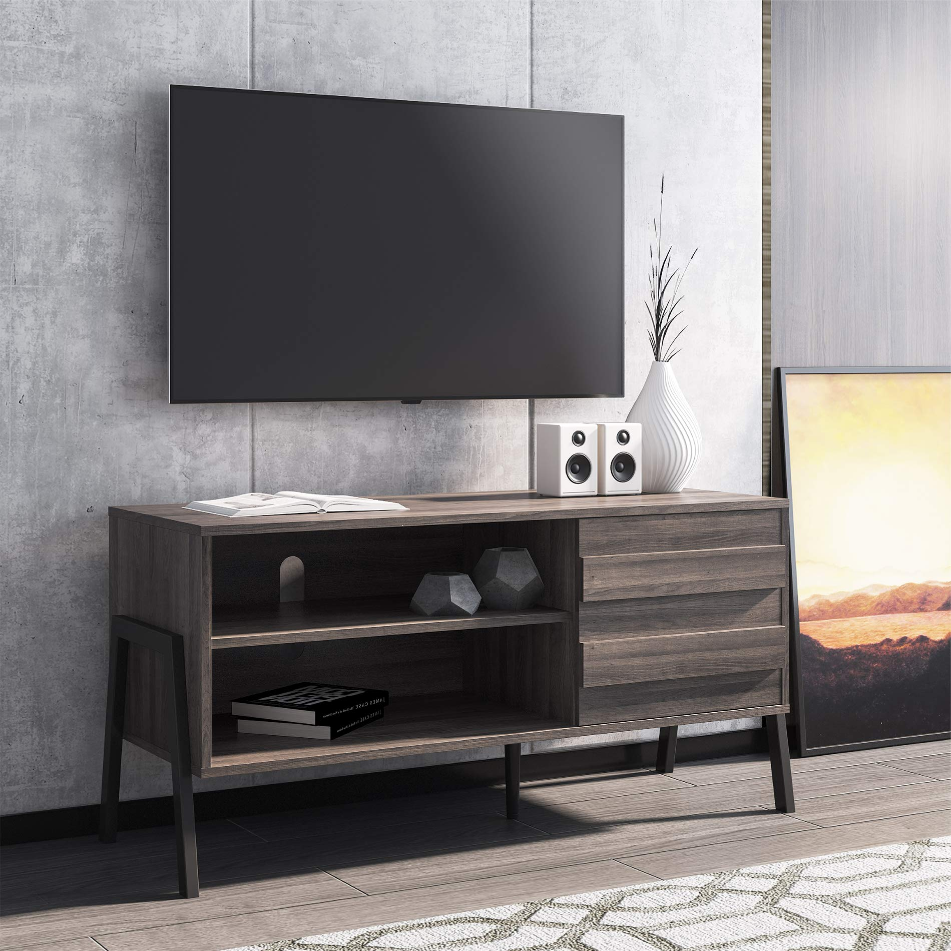 Fitueyes Mid Century Modern Tv Stand For 50 Flat Screen Tv With Push To Open Door Retro Entertainment Center For Living Room Wood Media Console With Storage Rustic Oak