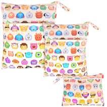 Damero 3pcs Pack Wet Dry Bag for Cloth Diapers Daycare Organizer Bag, Cartoon Animals