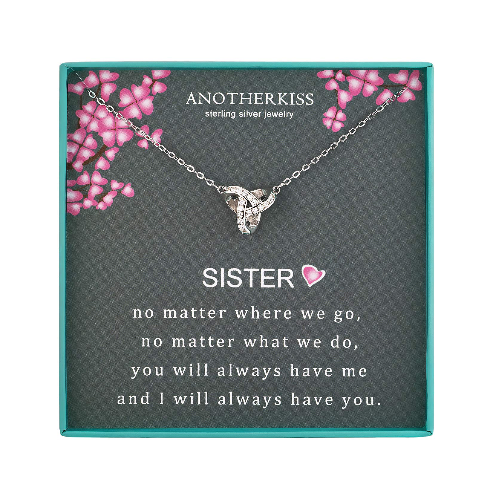 AnotherKiss Sister Gifts from Sister, Sterling Silver Triangle Geometric CZ Necklace for Sisters, Best Friend Birthday Jewelry, Friendship Gift Ideas
