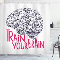 "Ambesonne Vintage Shower Curtain, Positive Words on Human Brain Intelligence Head Skull Humor Modern Image Art, Cloth Fabric Bathroom Decor Set with Hooks, 70"" Long, Pink Blue"