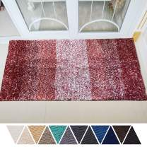 DEARTOWN Non-Slip Shaggy Bathroom Rug,Soft Microfibers Bath Mat with Water Absorbent, Machine Washable(Multicolor-Red,31x59 Inches)