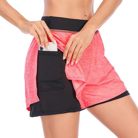 Koscacy Women Elastic Wasit Athletic Running 2 in 1 Shorts Double Layer with Inner Pocket