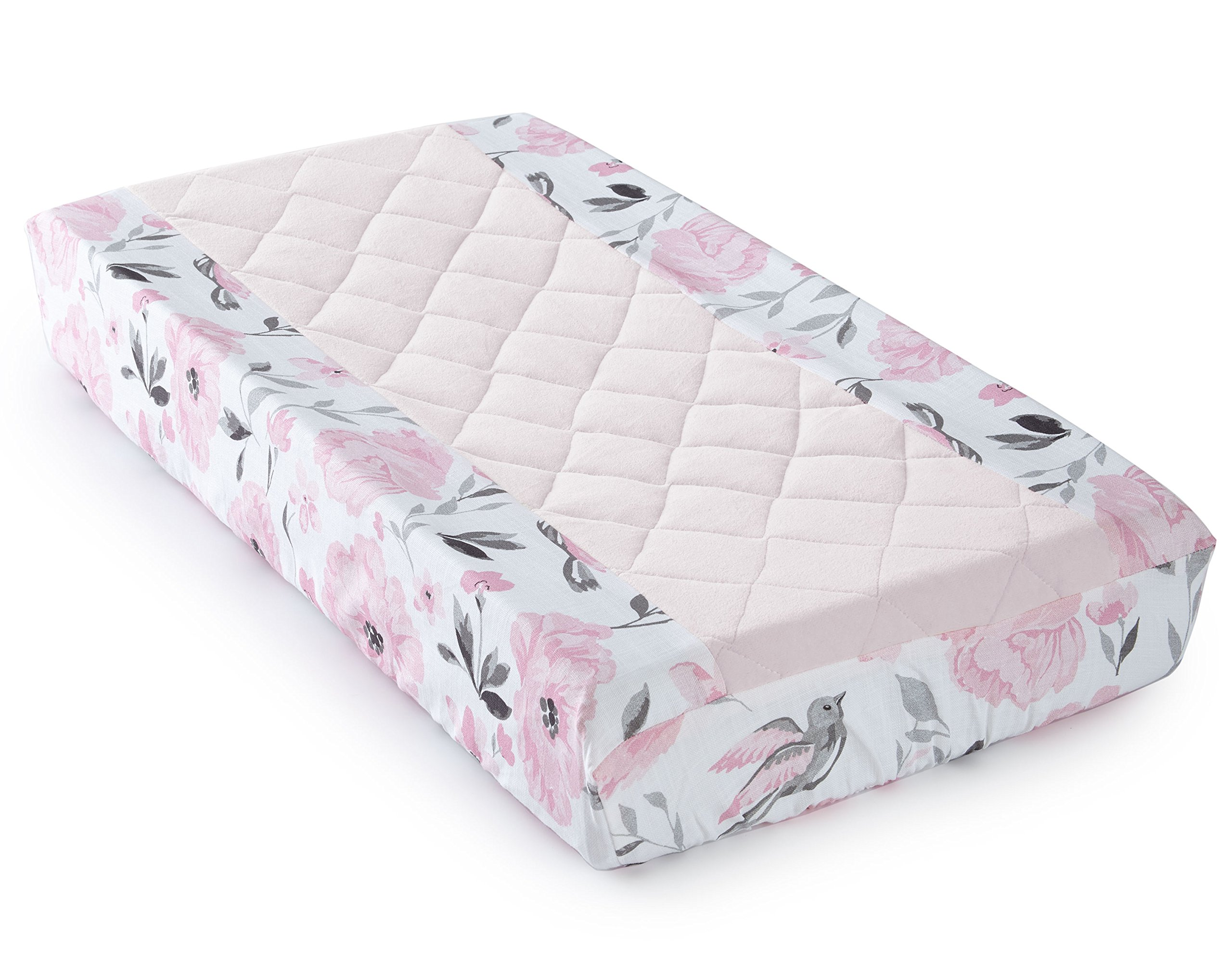 Levtex Baby - Elise Diaper Changing Pad Cover - Fits Most Standard Changing Pads - Floral Ogee Pattern - Pink, Grey and White - Nursery Accessories - Plush