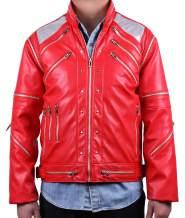 MJB2C-Style of Michael Jackson Beat it Costume Metal Zipper Leather Jacket Kids,Child / Adult Red