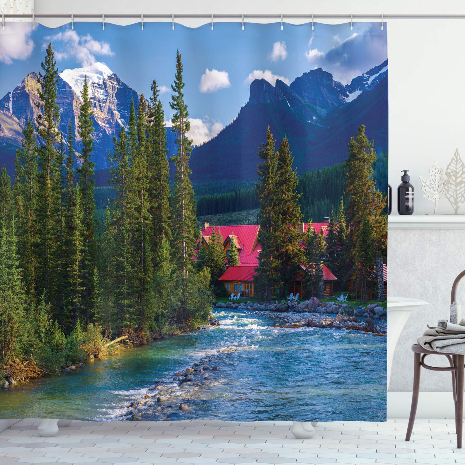 """Ambesonne Nature Shower Curtain, Pipestone River Rushes Past Log Lake Louise Village Banff National Park, Cloth Fabric Bathroom Decor Set with Hooks, 70"""" Long, Green Blue"""