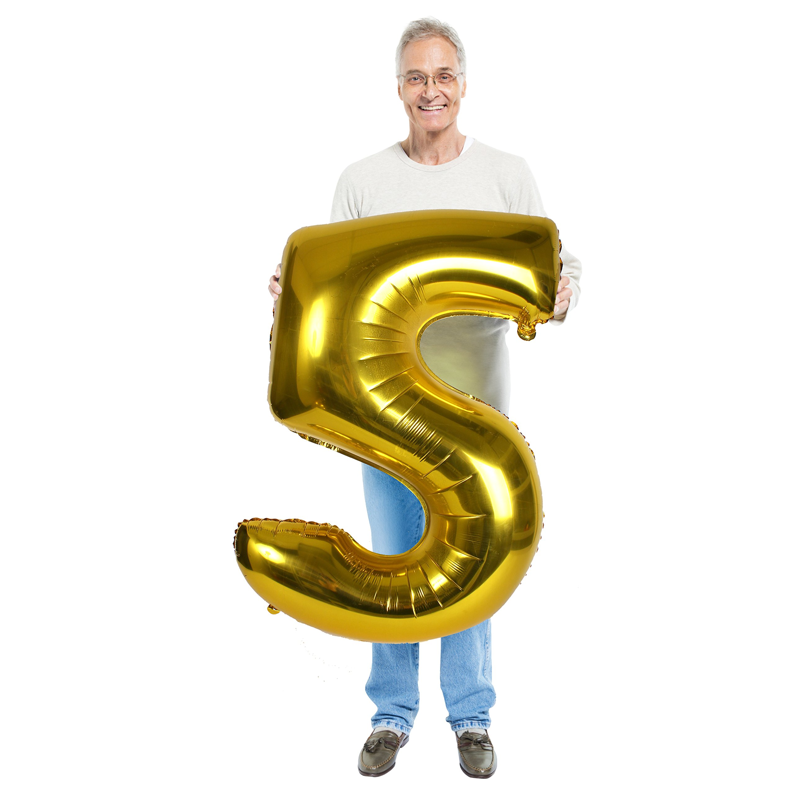 Treasures Gifted 40 Inch Gold Number 5 Balloon Large Foil Mylar Balloon for Birthday Party Wedding Anniversary Graduation Decorations Jumbo Foil Photo Props Picture Booth Big Ornaments