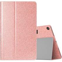 TiMOVO Folio Case for All-New Fire HD 10 Tablet (9th Generation, 2019 Release and 7th Generation, 2017 Release) - Slim Folding PU Leather Stand Cover Case for Amazon Fire HD 10 Tablet, Glitter Pink