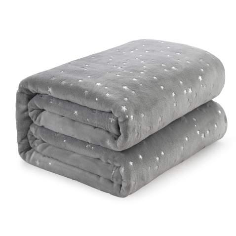 "NANPIPER Throw Blanket Fluffy Bed Blanket All Season Ultra Soft Microfiber Sofa Fleece Foil Blankets(Throw Size 50""x65"", Light Grey)"