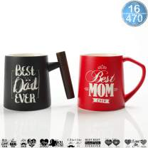 TEANAGOO DM01 - BEST DAD & MOM EVER Mugs - 16 Ounce, Gifts for parents for Coffee, Tea, Cocoa, Set of 2, NewParents Pregnancy Announcement Baby shower Gifts