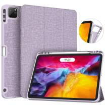 Soke New iPad Pro 11 Case 2020 & 2018 with Pencil Holder - [Full Body Protection + Apple Pencil Charging + Auto Wake/Sleep], Soft TPU Back Cover for 2020 iPad Pro 11 inch(Violet)