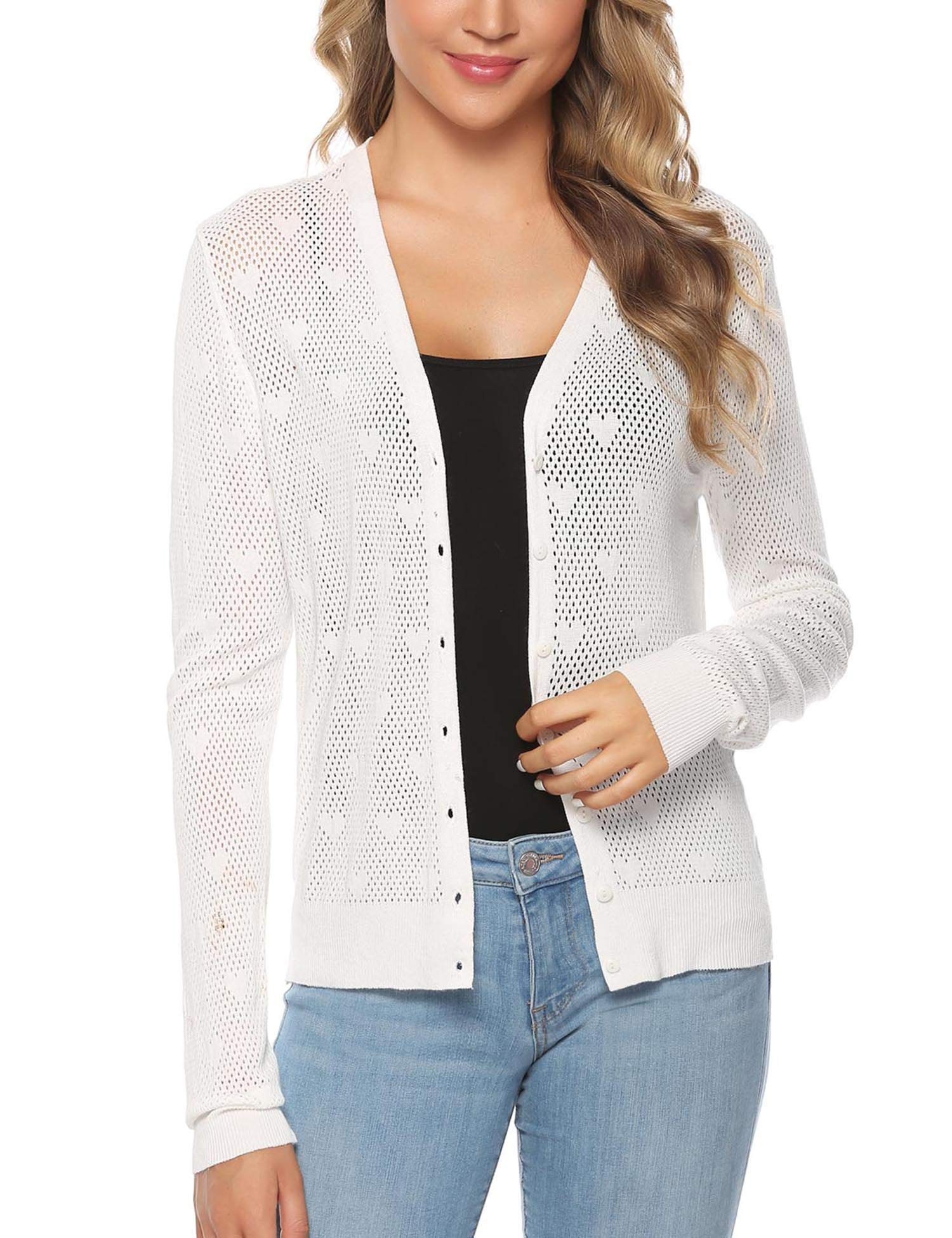 iClosam Women Knitted Bolero Shrug Long Sleeve Crochet Button Down Cardigan Sweater