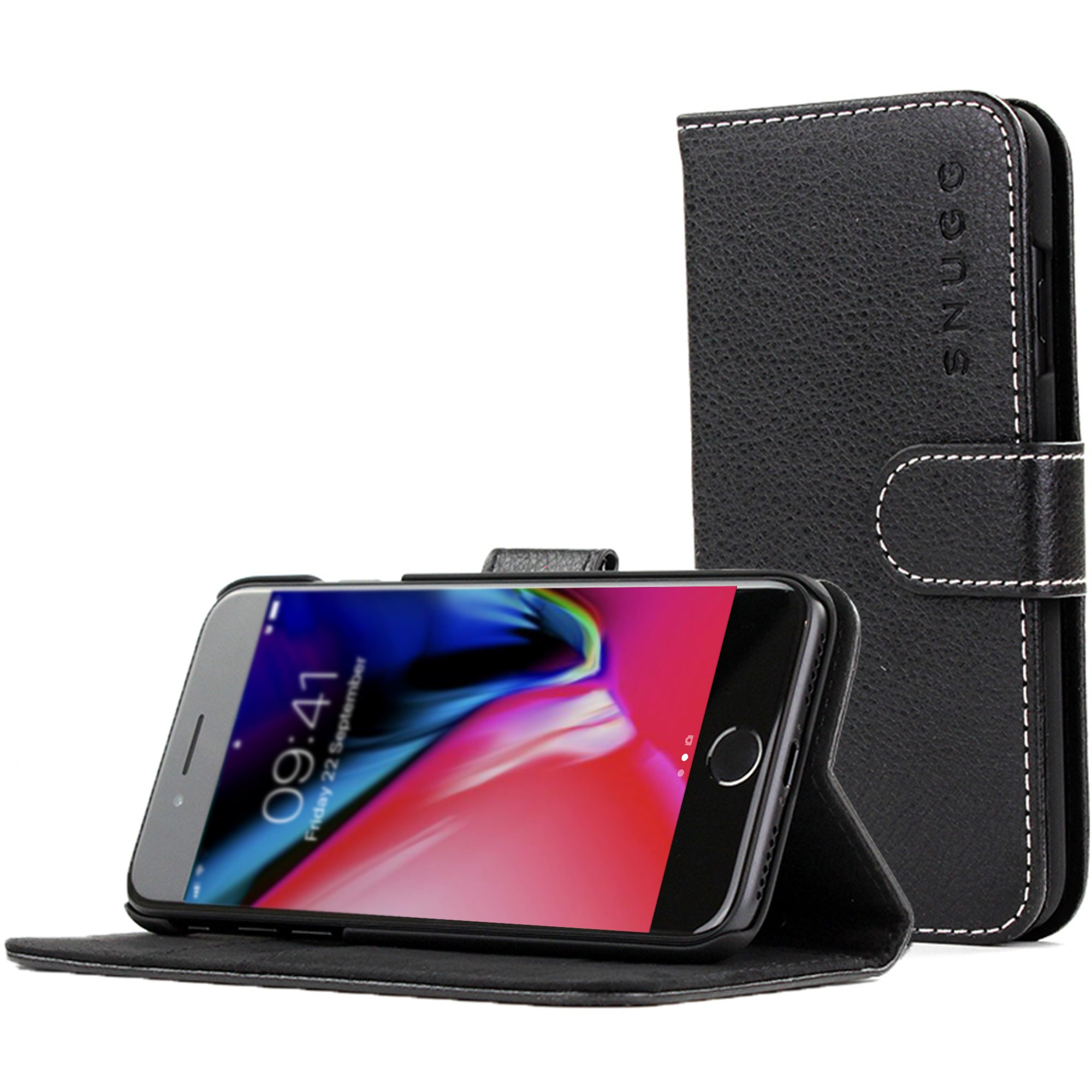 Snugg iPhone 8 Plus / 7 Plus Wallet Case – Leather Card Case Wallet with Handy Stand Feature – Legacy Series Flip Phone Case Cover in Black