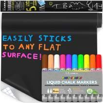 Bundle of Kassa Liquid Chalk Markers (10 Neon Colors) & Chalkboard Contact Paper Roll (8 Feet w/ 5 chalks)