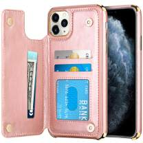 HianDier Wallet Case for iPhone 11 Pro Card Holder Case Double Magnetic Clasp Flip Cover Soft PU Leather Kickstand Dual Layer Shockproof Wallet Case for 2019 Release 5.8 Inch iPhone 11 Pro, Rose Gold