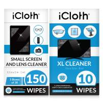 iCloth Lens and Screen Cleaner Pro-Grade Individually Wrapped Wet Wipes, Wipes That Clean Smartphones, Tablets, Laptops, and HDTVs - Combo Pack of 160