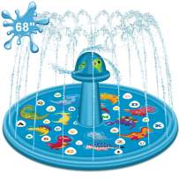 """Apsung 2020 Upgraded Sprinkler Splash Play Pad for Kids, 68"""" Children's Sprinkler Wading and Learning Swimming Pool, 'from A to Z' Inflatable Outdoor Water Summer Toys for Toddler Baby Kids"""