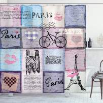 """Ambesonne Paris Shower Curtain, Grunge Textured Retro Collage of Paris with Famous Object Eiffel Tower Europe Theme, Cloth Fabric Bathroom Decor Set with Hooks, 70"""" Long, Lavender Blue"""