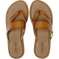 Ataiwee Womens Slide Sandals - Classic Simple Style Slip On Leather Flat Summer Shoes.
