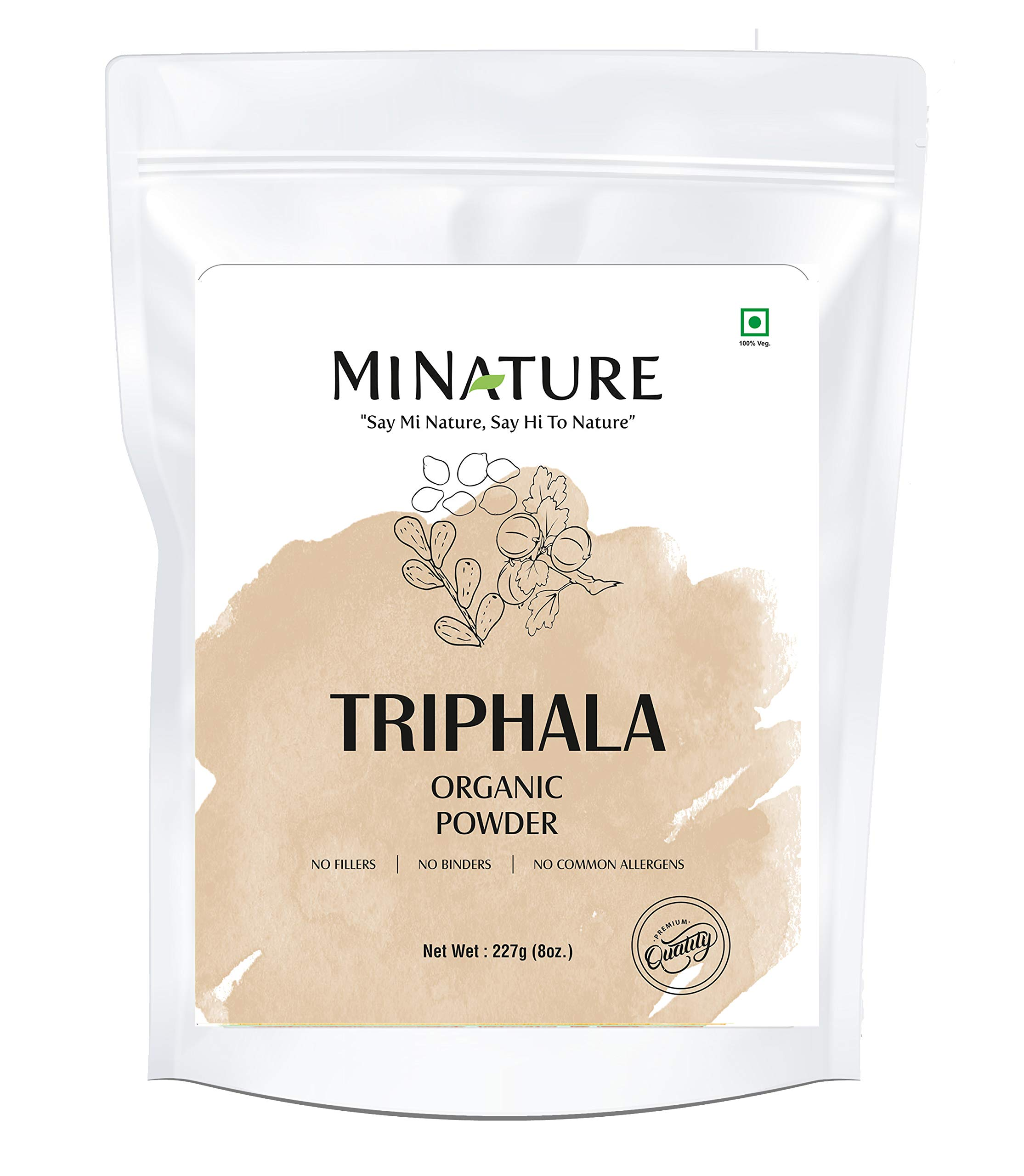 mi nature Organic USDA Certified Triphala Powder Powerfully Supports Healthy Digestion and Promotes Absorption. Balancing Formula for Detoxification, Pure, Natural (227g) - Resealable Zip Lock Pouch