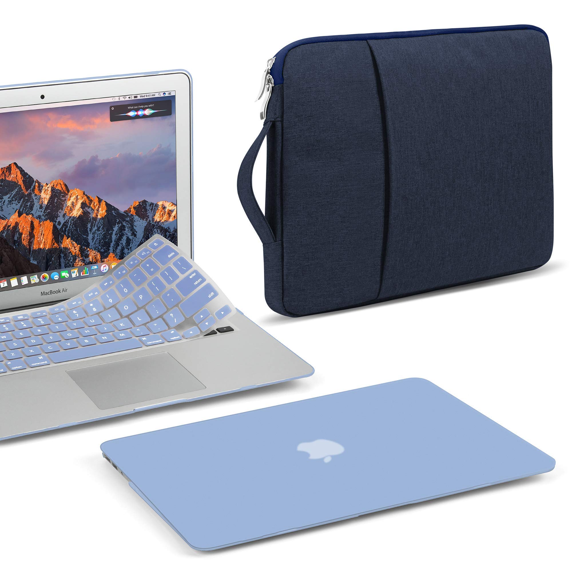 GMYLE MacBook Air 13 Inch Case A1466 A1369 Old Version 2010 2017, 13 13.3 Inch Handle Carrying Sleeve Bag, Keyboard Cover 3 in 1 Set (Serenity Blue)
