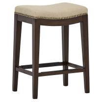 "Amazon Brand – Stone & Beam Elden Nailhead-Trim Saddle Kitchen Counter-Height Backless Stool, 26""H, Hemp"