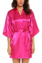 Avidlove Women's Kimono Robe Satin Lounge Bridesmaids Short Style