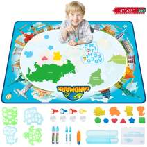 Aqua Magic Mat, 47 x 35 Inches Colorful Drawing Doodle Board, Water Doodle Magic Mat for Kids with 28 Accessories, Toddler Educational Toys for 2-8 Year Old Girls Boys (Map)