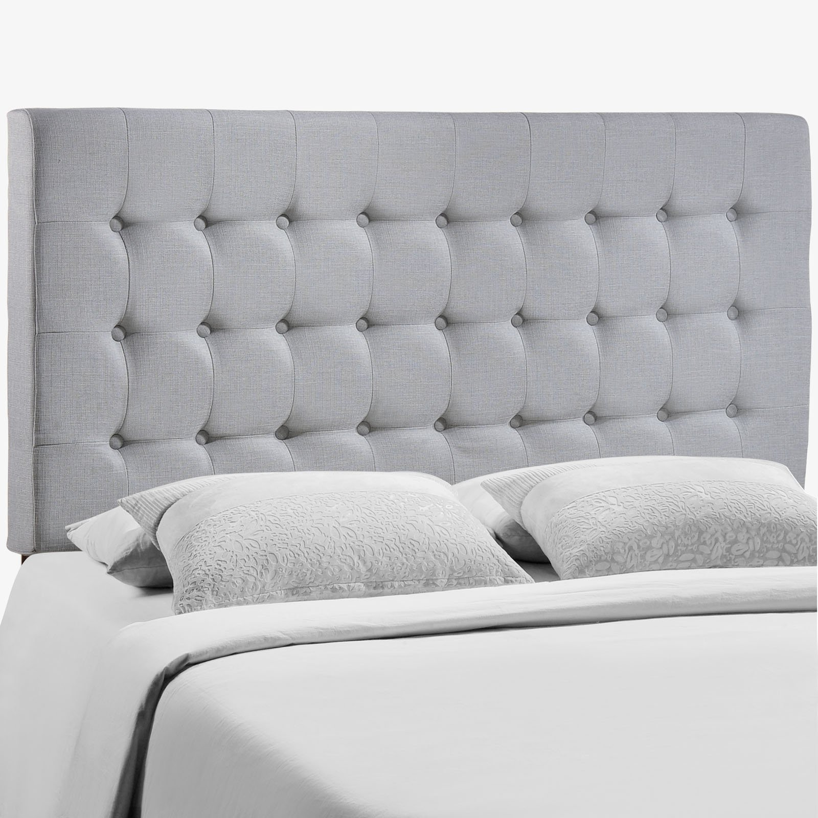 Modway Tinble Tufted Button Linen Fabric Upholstered Queen Headboard in Gray