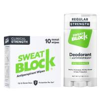 Sweatblock Excessive Sweat and Odor bundle [Clinical Strength Antiperspirant Sweat Wipes and Regular Antiperspirant Deodorant] Odor Protection and Hyperhidrosis Treatment (Bundle Deal)