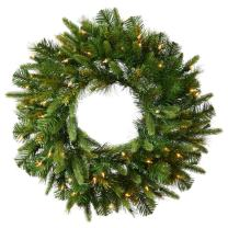 Vickerman Pre-Lit Cashmere Pine Wreath with 100 Clear Dura-Lit Lights, 36-Inch, Green