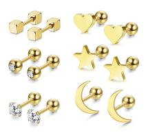 LOYALLOOK 3 Pairs Stainless Steel Moon Star and heart Plain Stud Earrings for Women and Girls