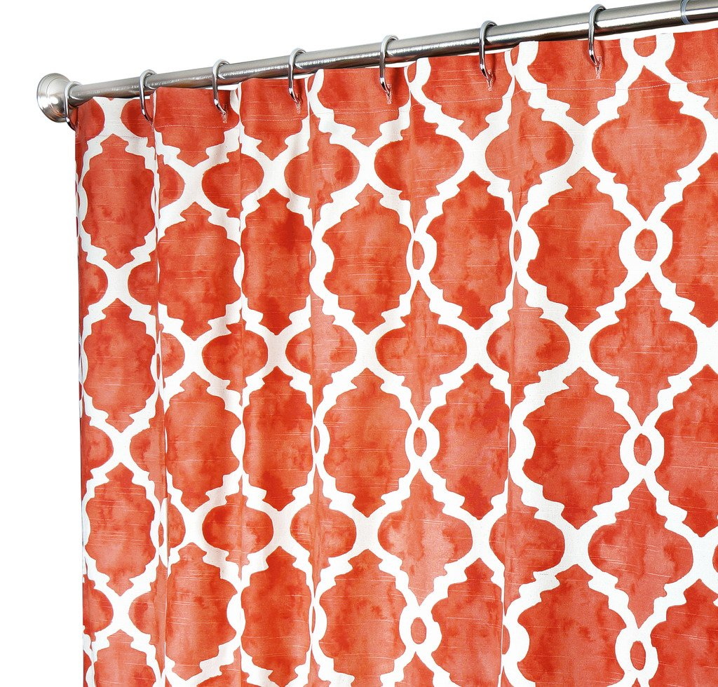 """Decorative Things Extra Long Shower Curtain Designer Fabric Coral Red Shower Curtain Cloth Hand Painted Look Unique 84"""" Inch"""