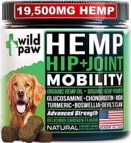Wildpaw Organic Hemp Hip & Joint Supplement for Dogs with Glucosamine, Chondroitin, MSM, Turmeric, Organic Hemp Oil + Hemp Powder - Healthy Dog Treats for Improved Mobility & Pain Relief - Soft Chews