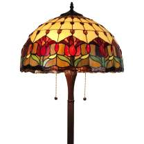 "Tiffany Style Standing Floor Lamp 62"" Tall Stained Glass Brown Red Green Flower Tulip Antique Vintage Light Decor Bedroom Living Room Reading Gift AM002FL18B Amora Lighting, Multicolor"