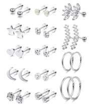 Jstyle 14Pairs Stainless Steel Helix Cartilage Tragus Stud Earring Hoops Earring for Women CZ Barbell Piercing Earrings Body Piercing Jewelry