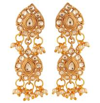 """NEW! Touchstone""""Contemporary Kundan Collection"""" Indian Bollywood Desire Master Creation Mughal Kundan Faux Pearls Floral Chaandbaali Large Bridal Jewelry Earrings In Gold Tone For Women"""