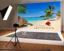 Laeacco 7x5FT Vinyl Backdrop Photography Background Merry Christmas Santa Hat Tropical Beach Rock Palm Trees Island Blue Sea and Sky Scenery Background Children Portraits Backdrop Photo Studio